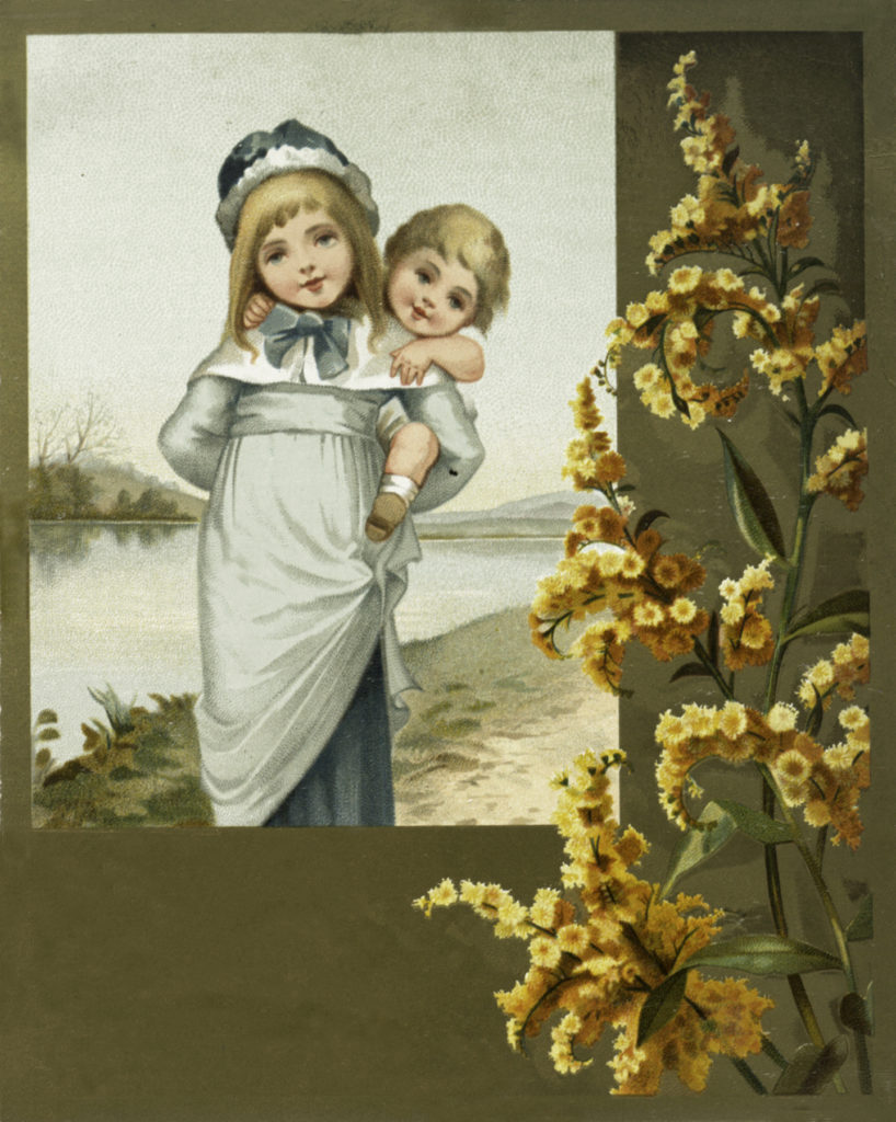 Beautiful Vintage Girl A Holding Baby