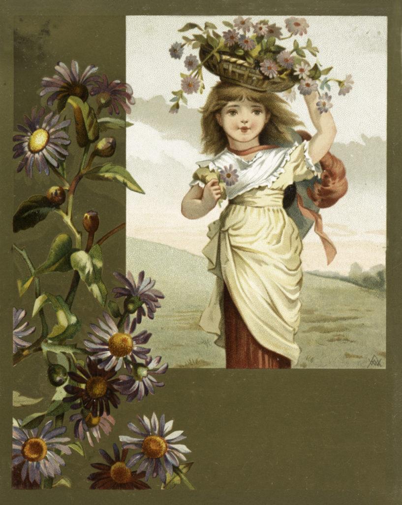 Beautiful Vintage Girl With Flower Basket image