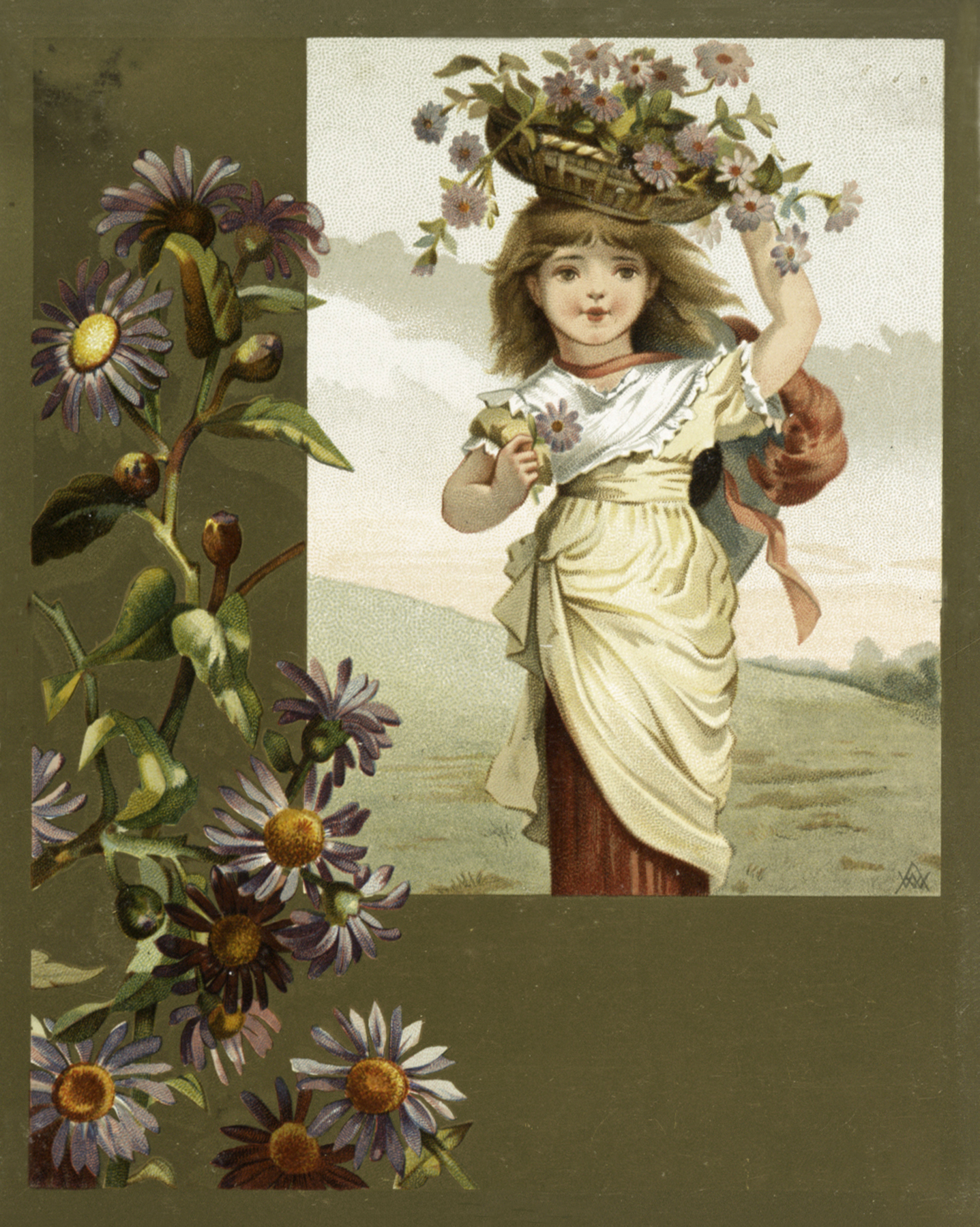 Beautiful Vintage Girl With Flower Basket image