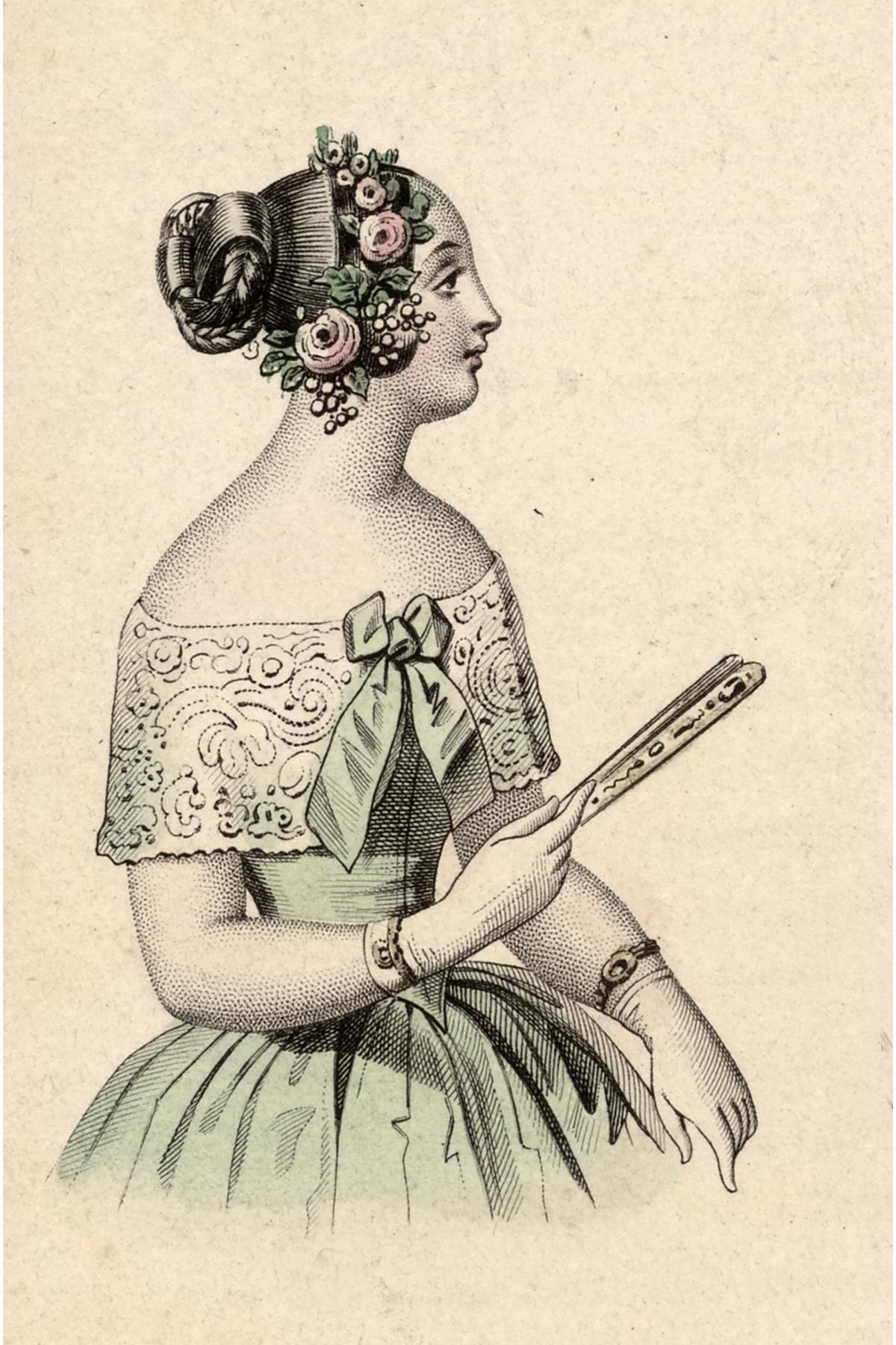 Vintage Lady Holding A Fan Image