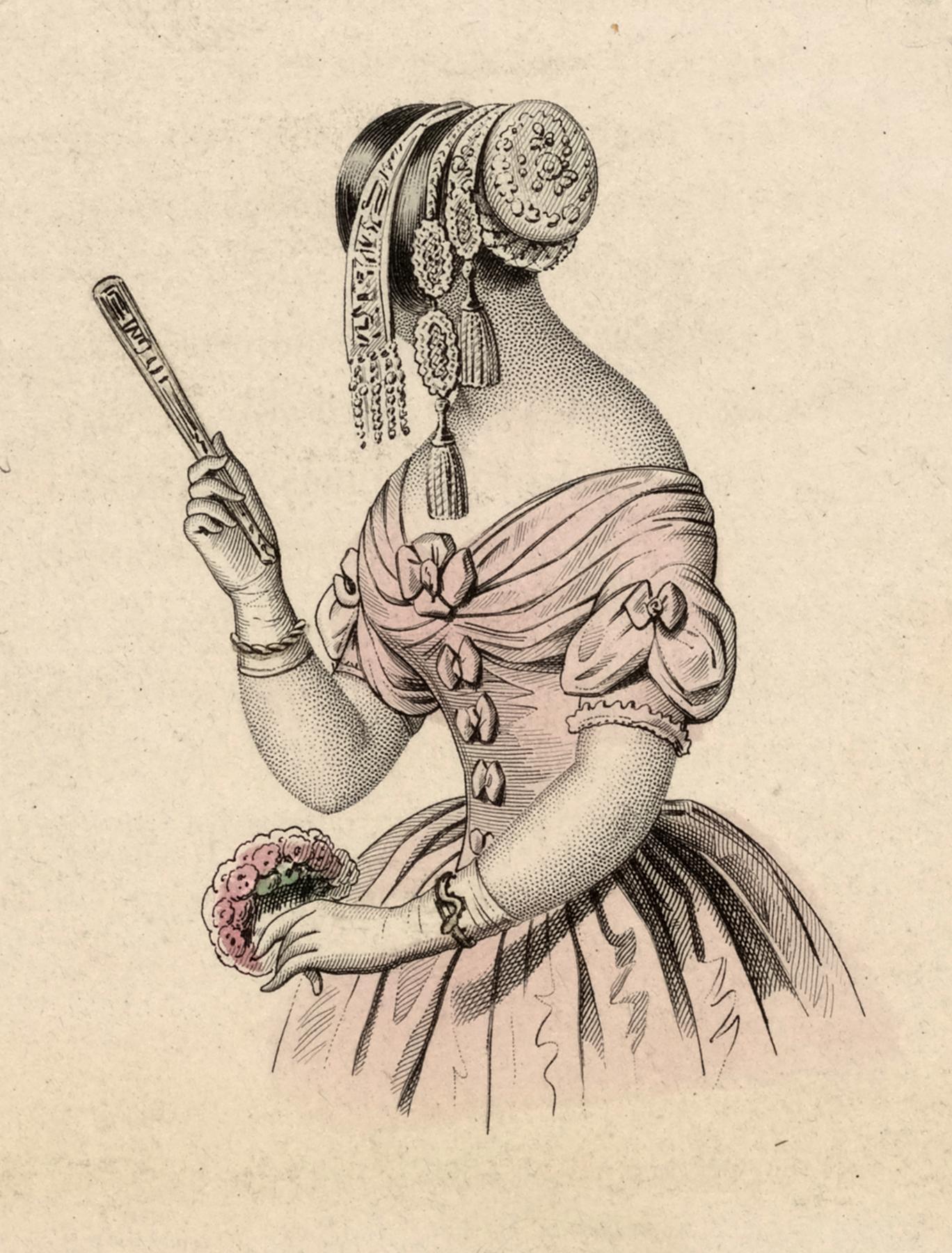 Vintage Lady Wearing A Pink Dress Image