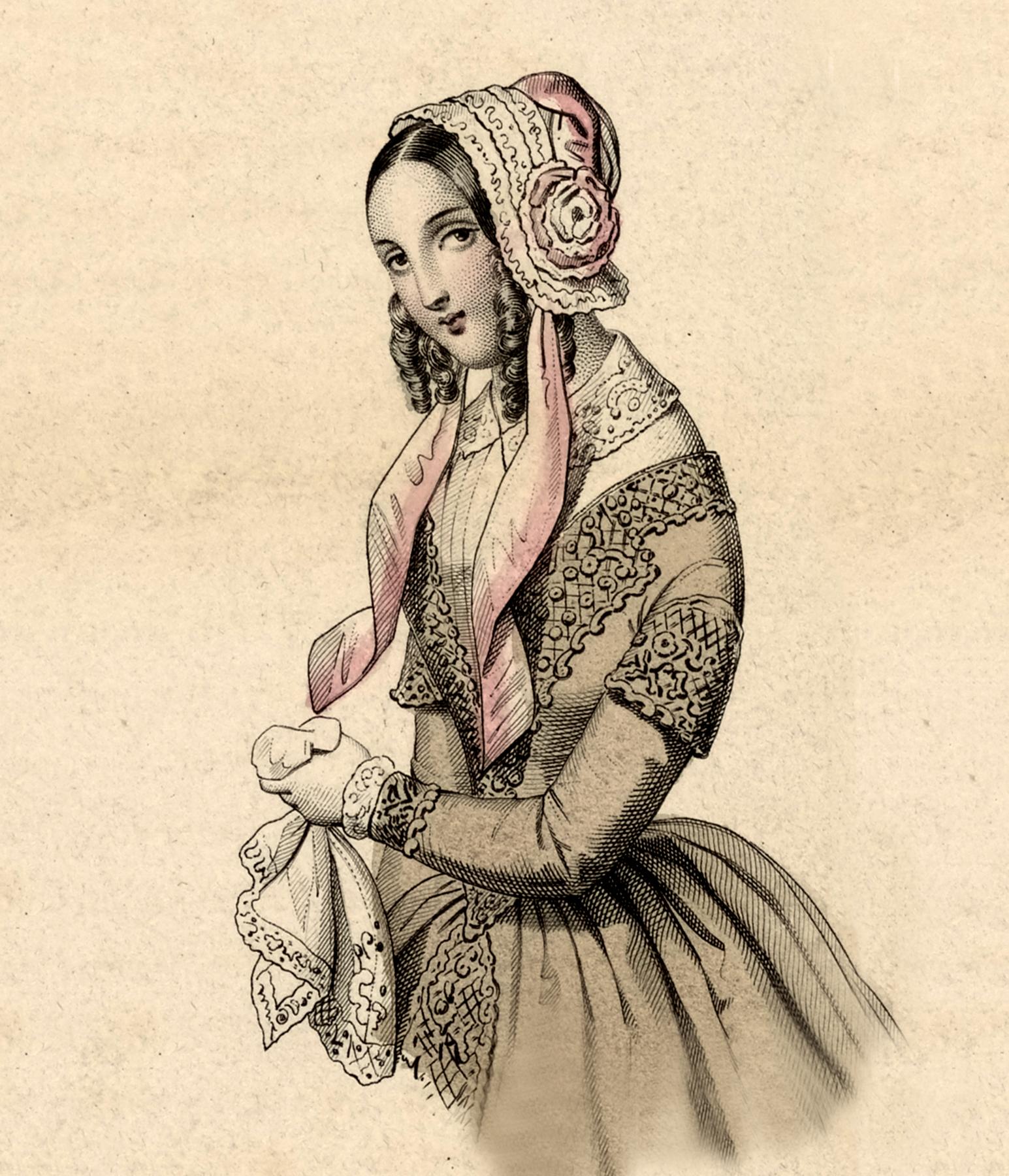 Beautiful Vintage Lady Wearing A Bonnet Image