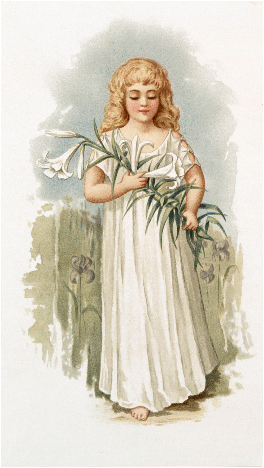 Pretty Vintage Girl with Lily Image