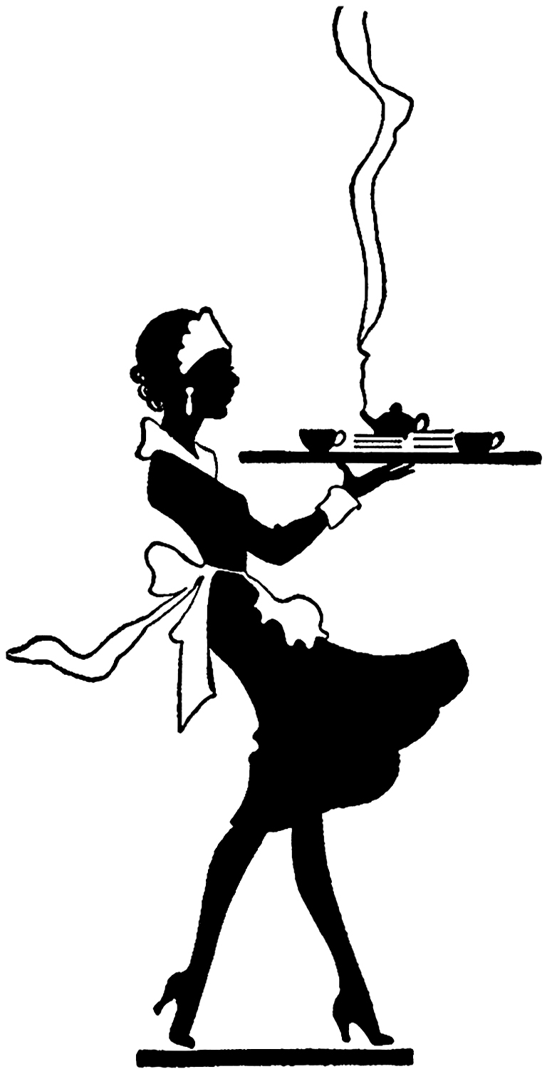 Vintage Black and White Waitress image - The Graphics Fairy