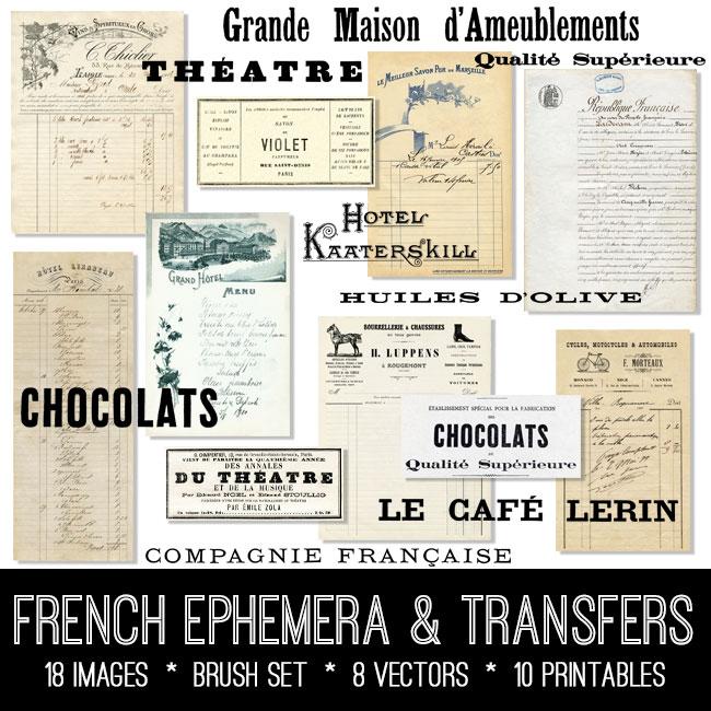 French Ephemera & Transfers Kit