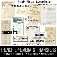 French Ephemera & Transfers Kit – Graphics Fairy Premium!