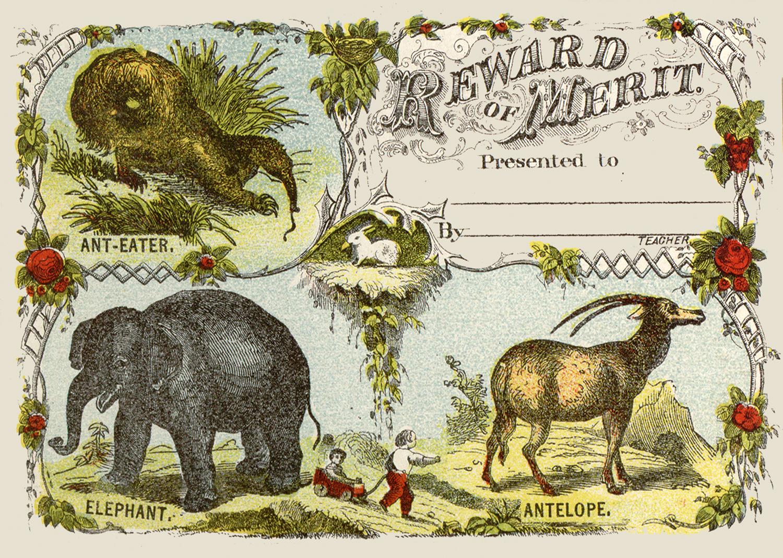 Vintage Animal Reward Certificate Image