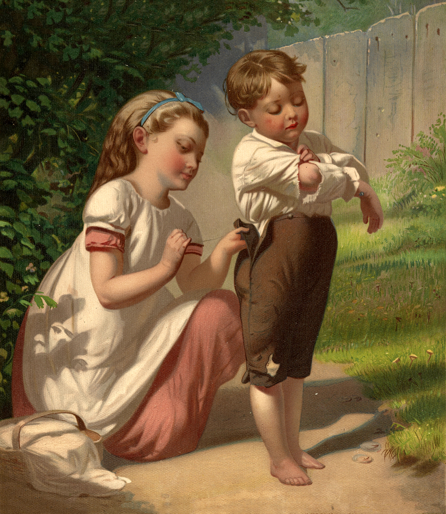 Vintage Boy And Girl Sewing Image