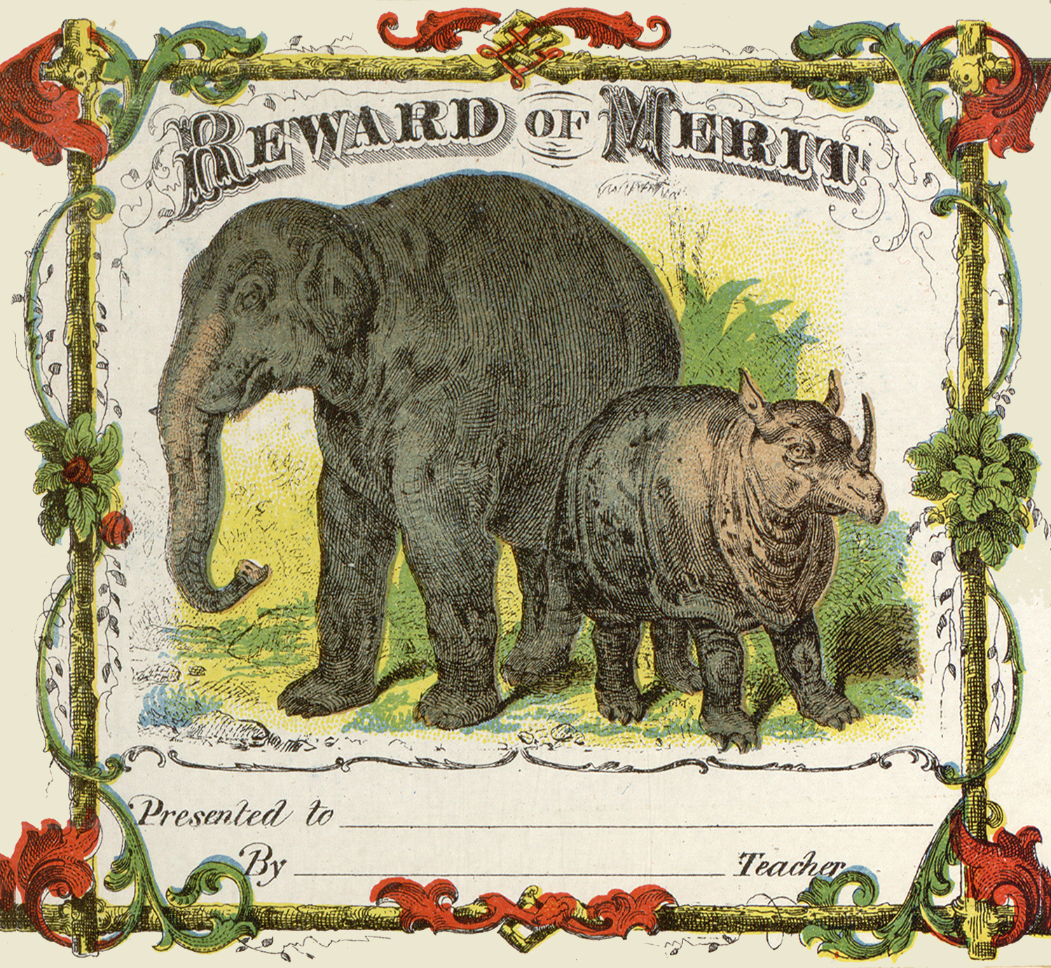 Vintage Elephant And Rhino Certificate Image