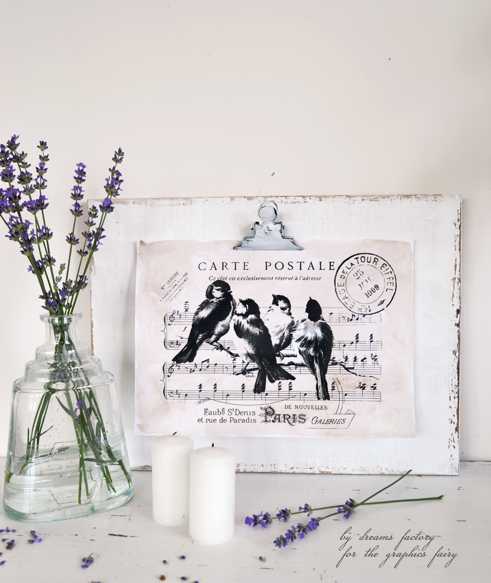 Distressed clipboard frame for your favorite vintage graphics & free printable - by Dreams Factory for The Graphics Fairy