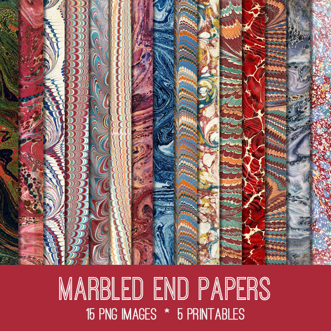 Marbled End Papers Kit! Graphics Fairy Premium Membership