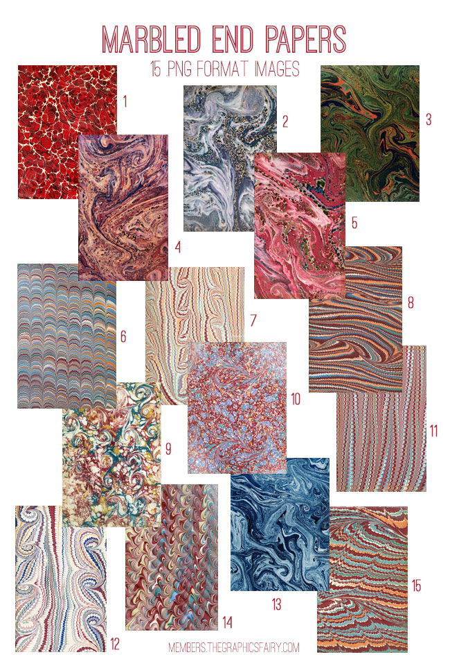 Marbled End Papers Kit! Graphics Fairy Premium Membership - The
