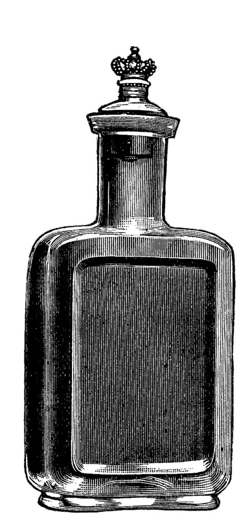 Old Glass Perfume Bottle with Crown Clip Art