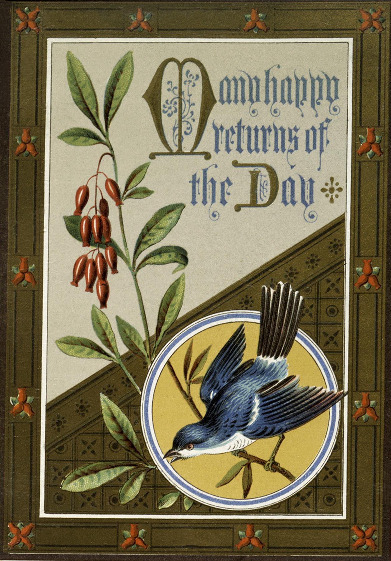 Vintage Bluebird Birthday Image