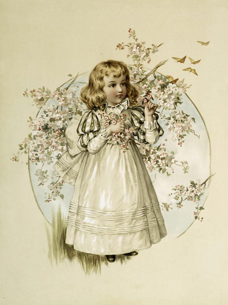 Sweet Little Girl Holding Flowers Image