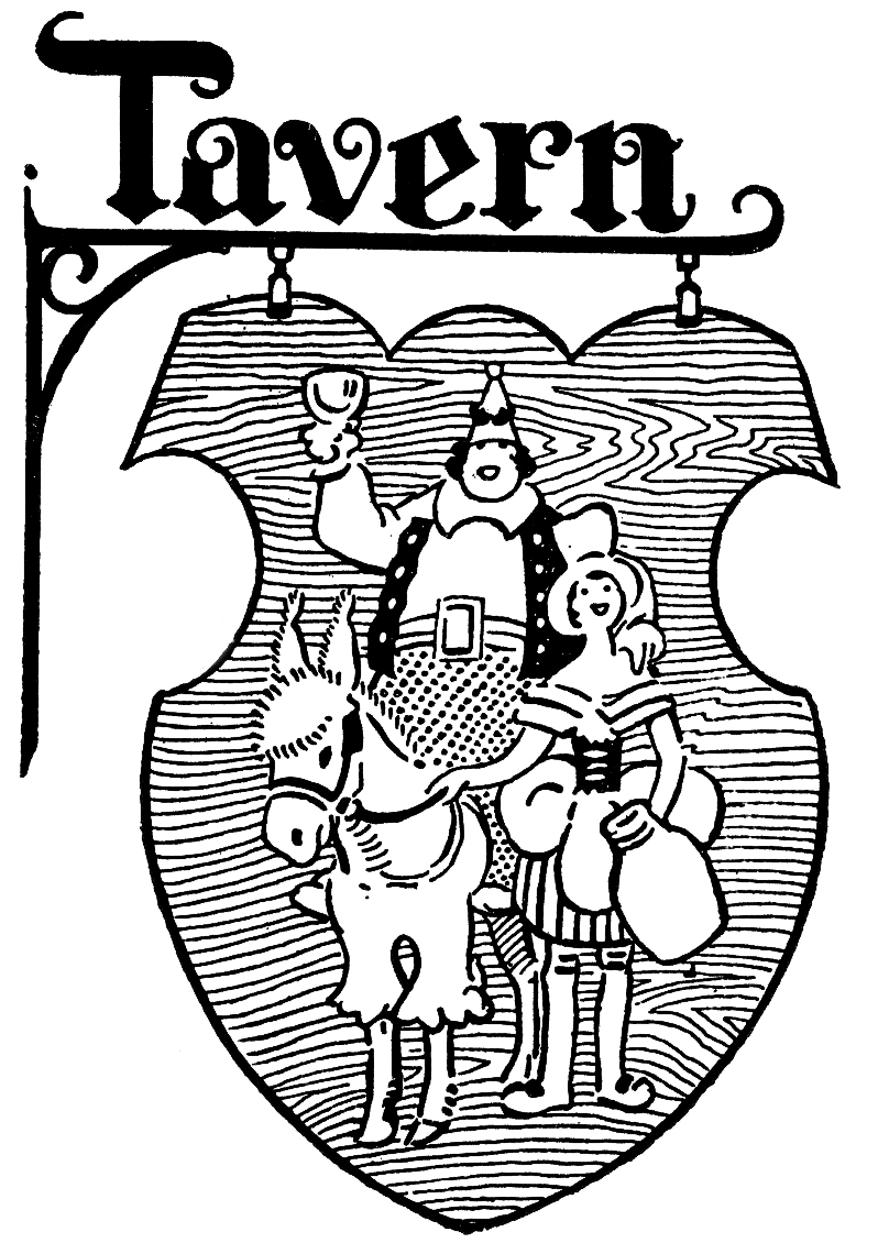 Black And White Tavern Hanging Sign Image