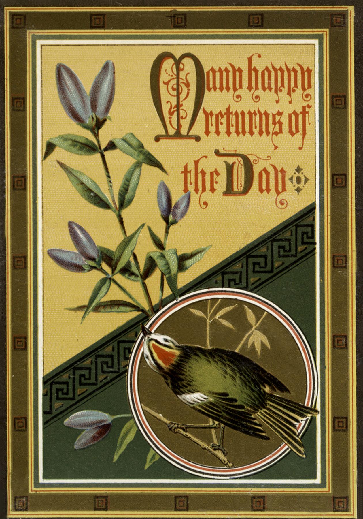 Vintage Green Bird On Branch Birthday Image