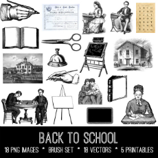 Back to School Images Kit! Graphics Fairy Premium