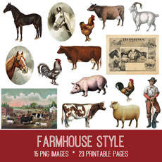 Farmhouse Style Images Kit! Graphics Fairy Premium