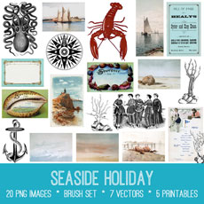 Seaside Holiday Images Kit! Graphics Fairy Premium
