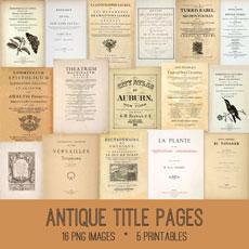 Antique Title Pages Images Kit! Graphics Fairy Premium