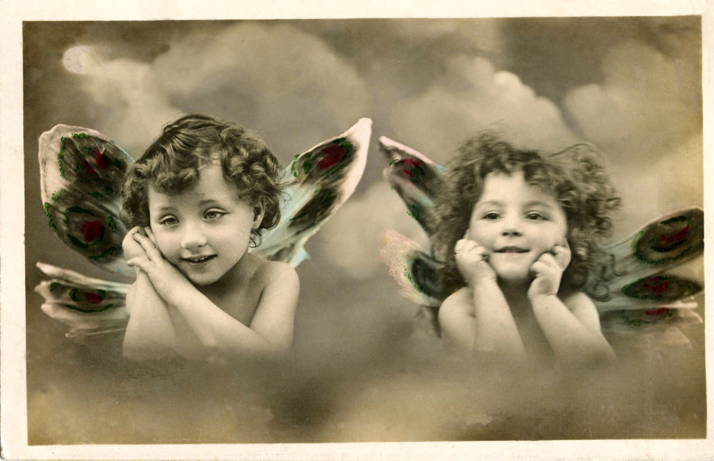 Vintage Cherubs in Clouds with Butterfly Wings Image!