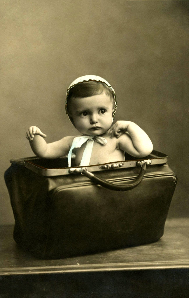Vintage Cute Child in Leather Satchel Image!