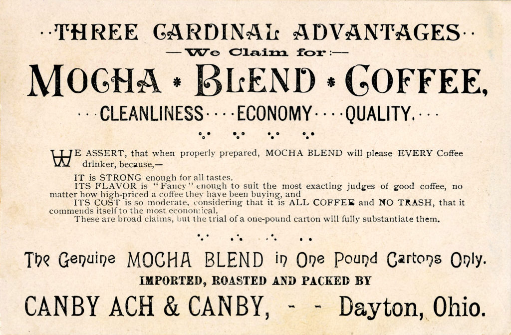 Mocha Blend Coffee Advertising Ephemera