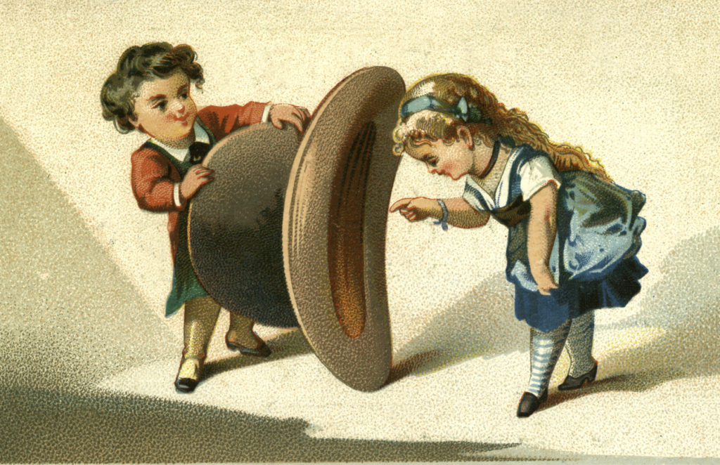 Vintage Playful Boy and Girl with Large Hat Image!
