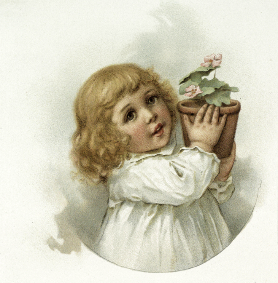 Vintage Sweet Girl Holding Pot of Flowers Graphic