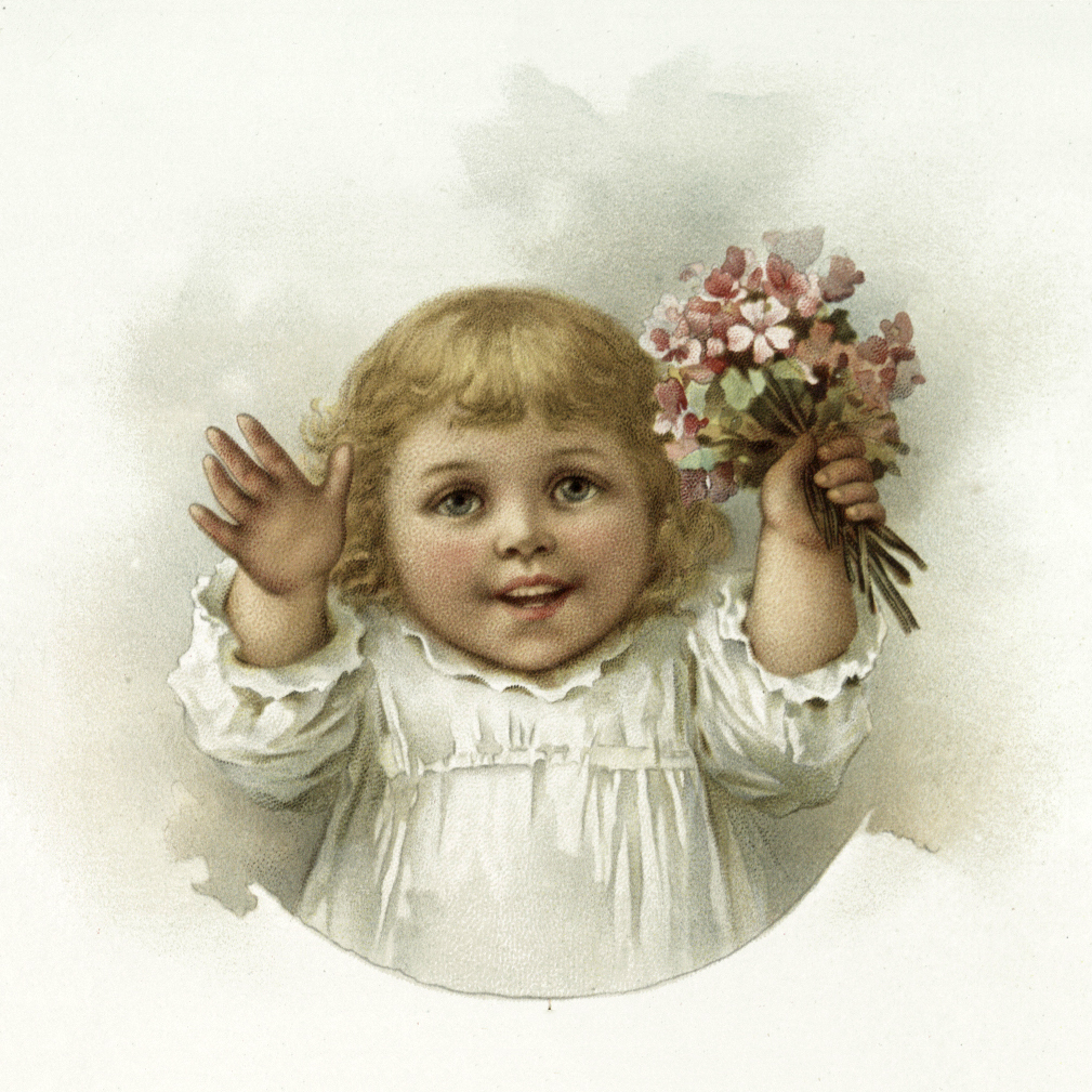 Nostalgic Adorable Girl with Pink Bouquet Image