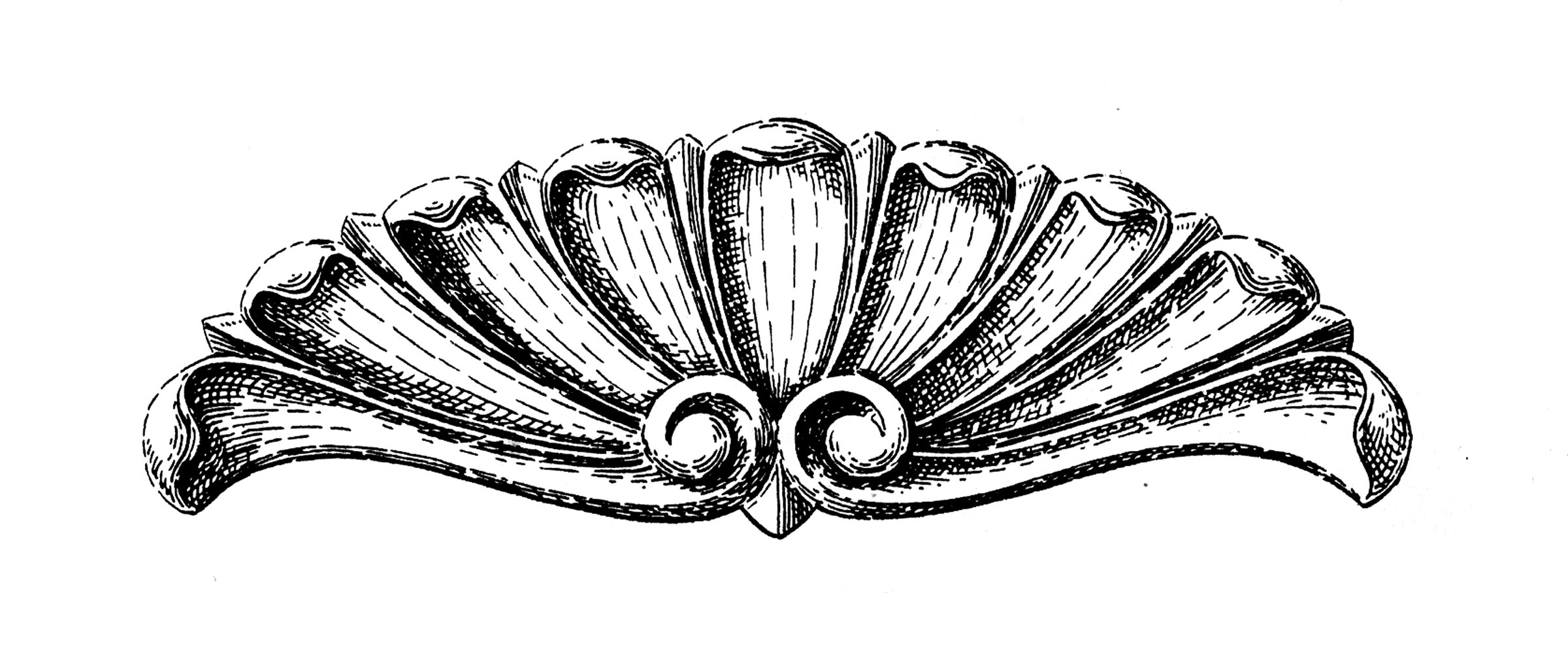 Old Black and White Shell Wood Carving Graphic