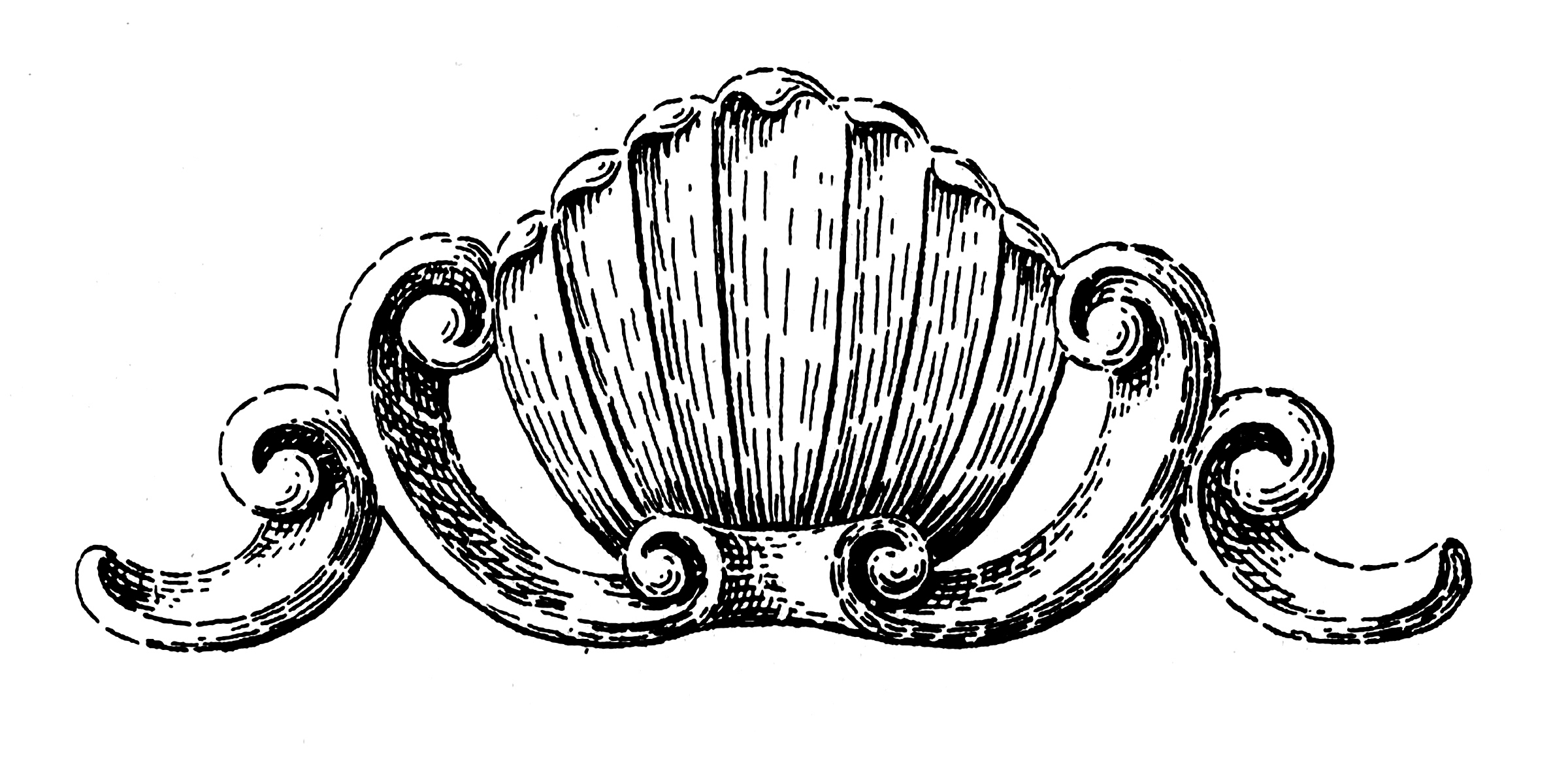 Old Palm Shell Woodcarving Clip Art