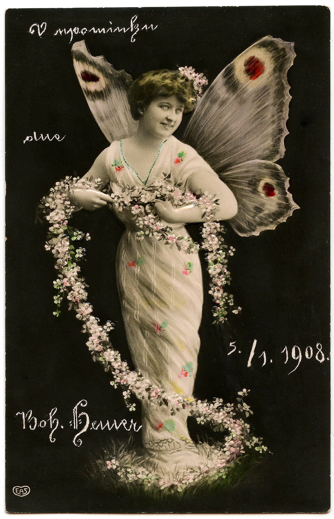vintage butterfly fairy lady photo