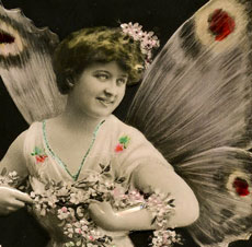 Vintage Butterfly Fairy Lady Photo!