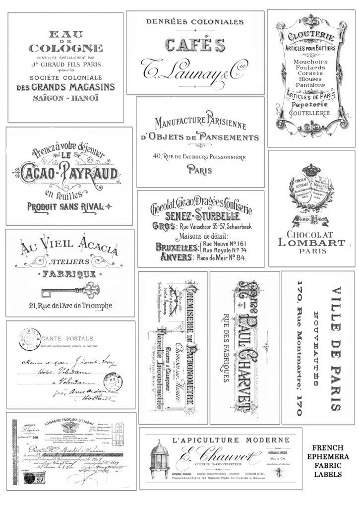 photograph about Printable Fabric Labels identified as Do-it-yourself French Ephemera Cloth Labels and Free of charge Printable