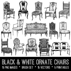 Black & White Ornate Chairs Image Kit! Graphics Fairy Premium