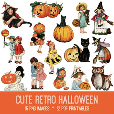 Cute Retro Halloween Image Kit! Graphics Fairy Premium