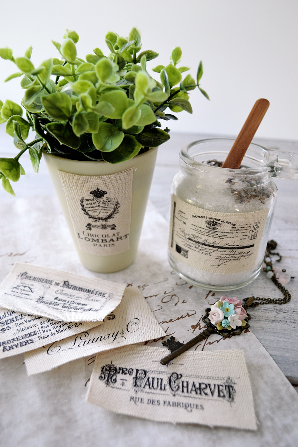 Learn how to make stunning French Ephemera Fabric Labels using the iron on transfer paper technique and use them to beautify different types of objects - by Dreams Factory for The Graphics Fairy