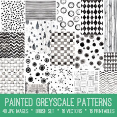 Painted Grayscale Patterns Images Kit! Graphics Fairy Premium
