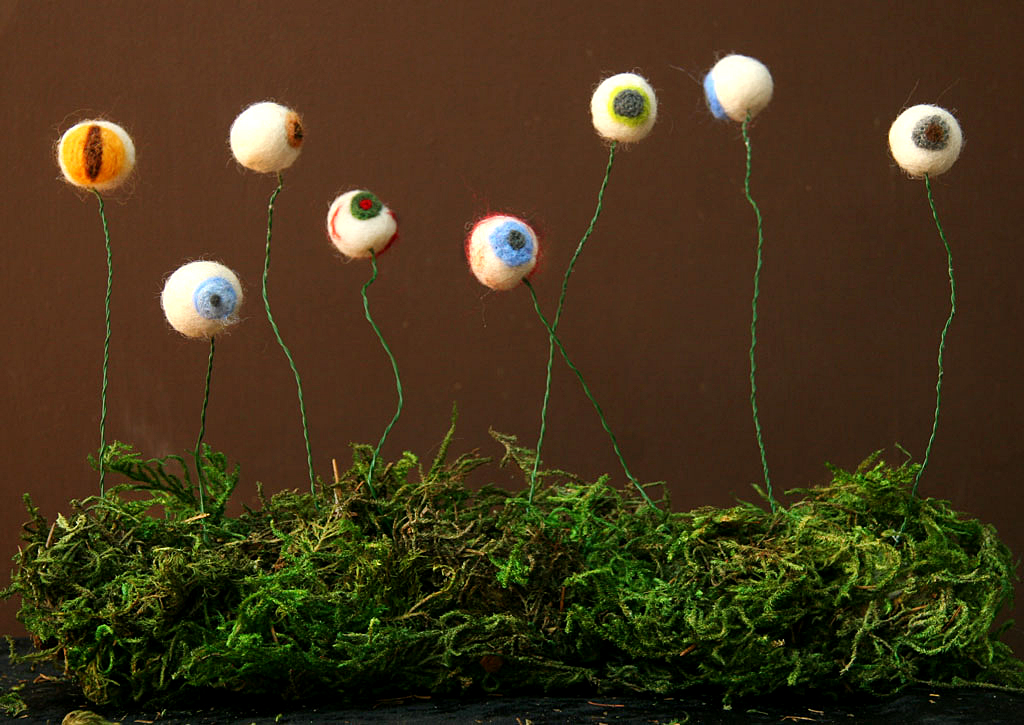 Felted Wool Eyeball Display