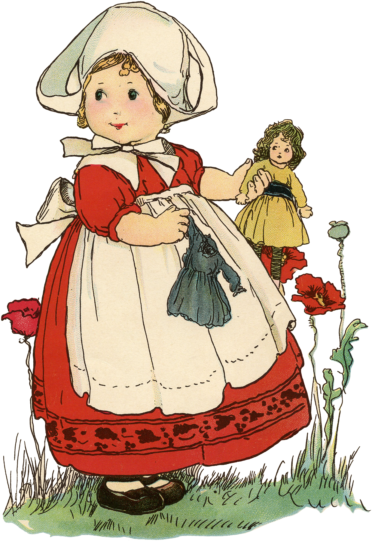 Vintage Little Dutch Girl with Doll Drawing! - The ...