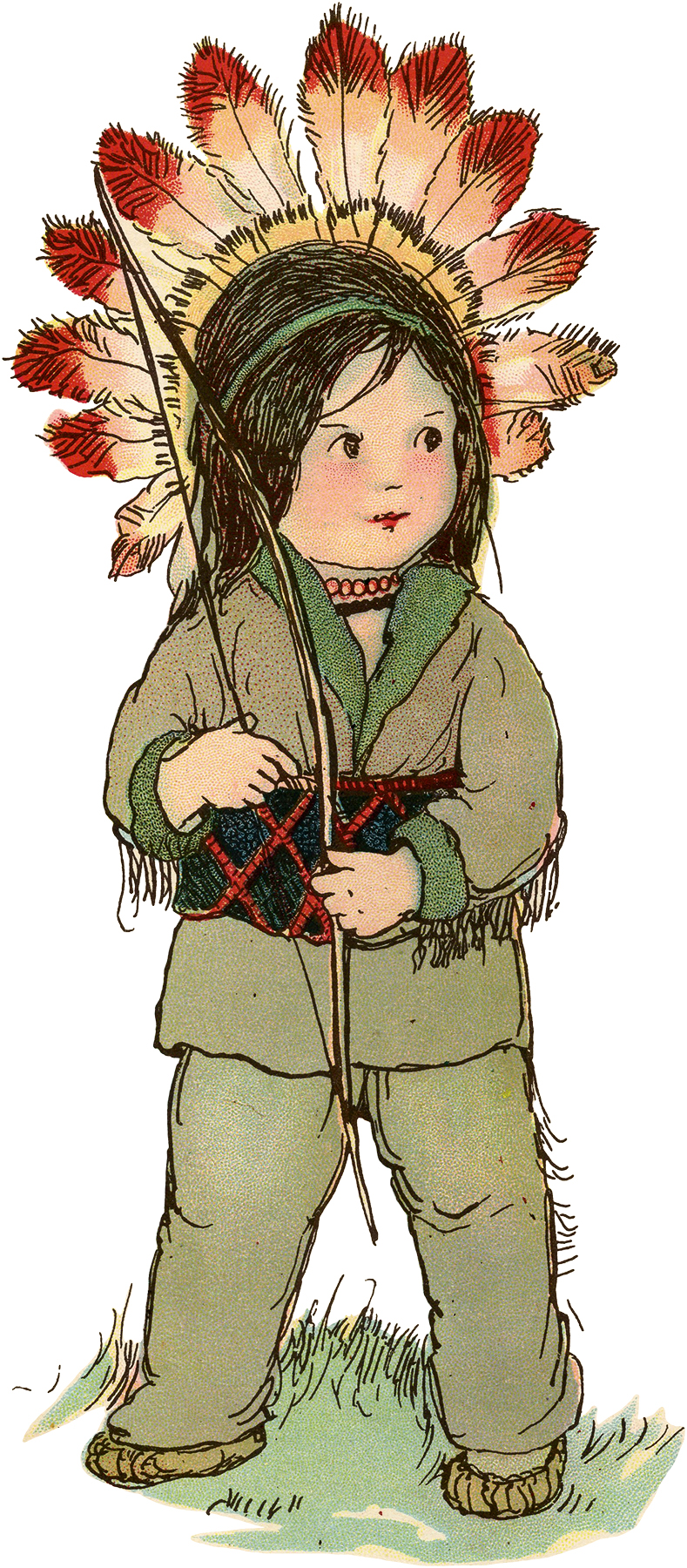 Vintage Cute Child in Native America Costume Drawing ...