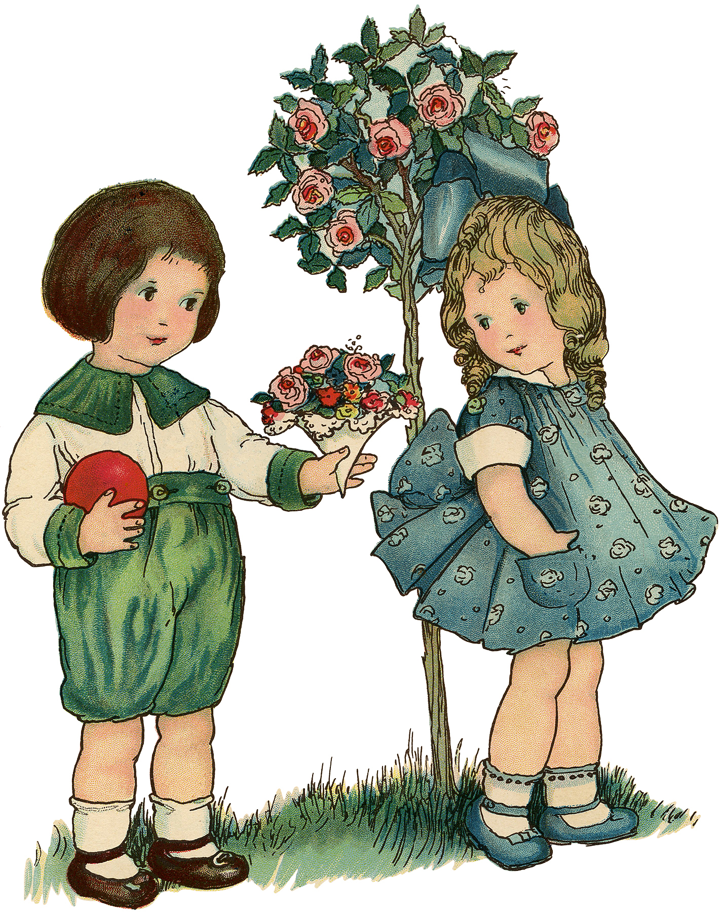 Vintage Boy gives Girl a Rose Bouquet