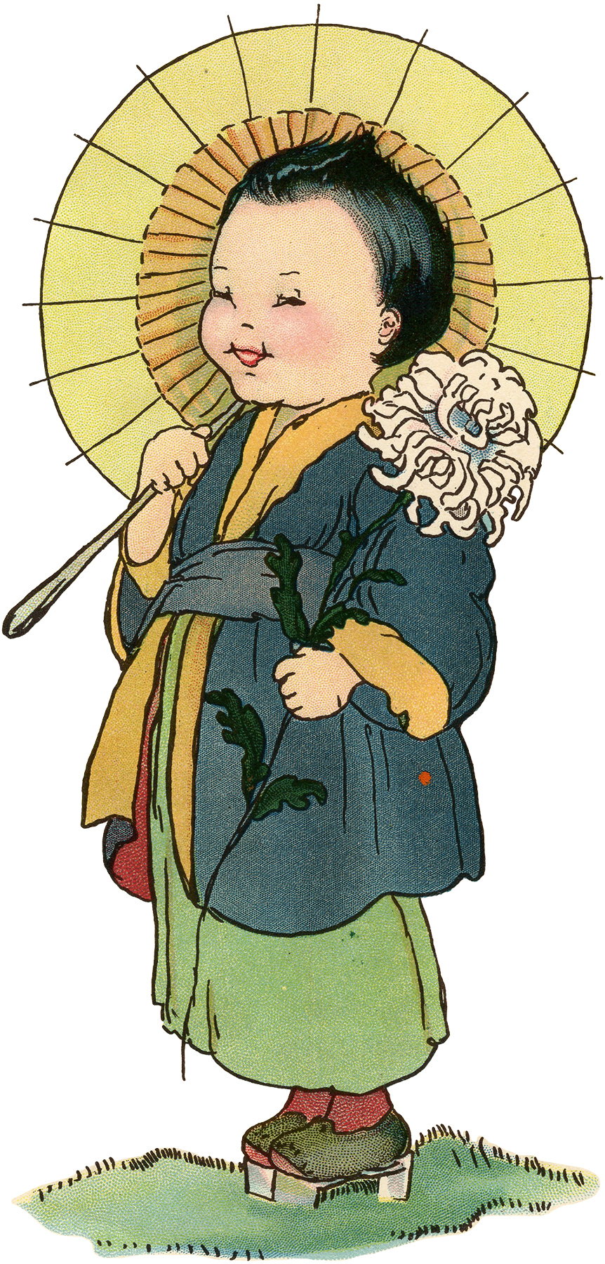 Vintage Asian Girl with Parasol Graphic