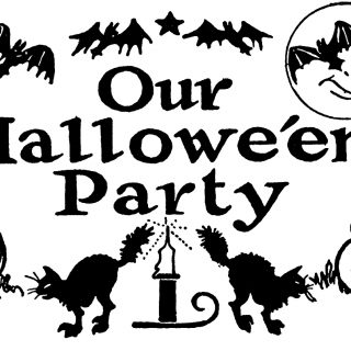 Nostalgic Black and White Halloween Party Clip Art!