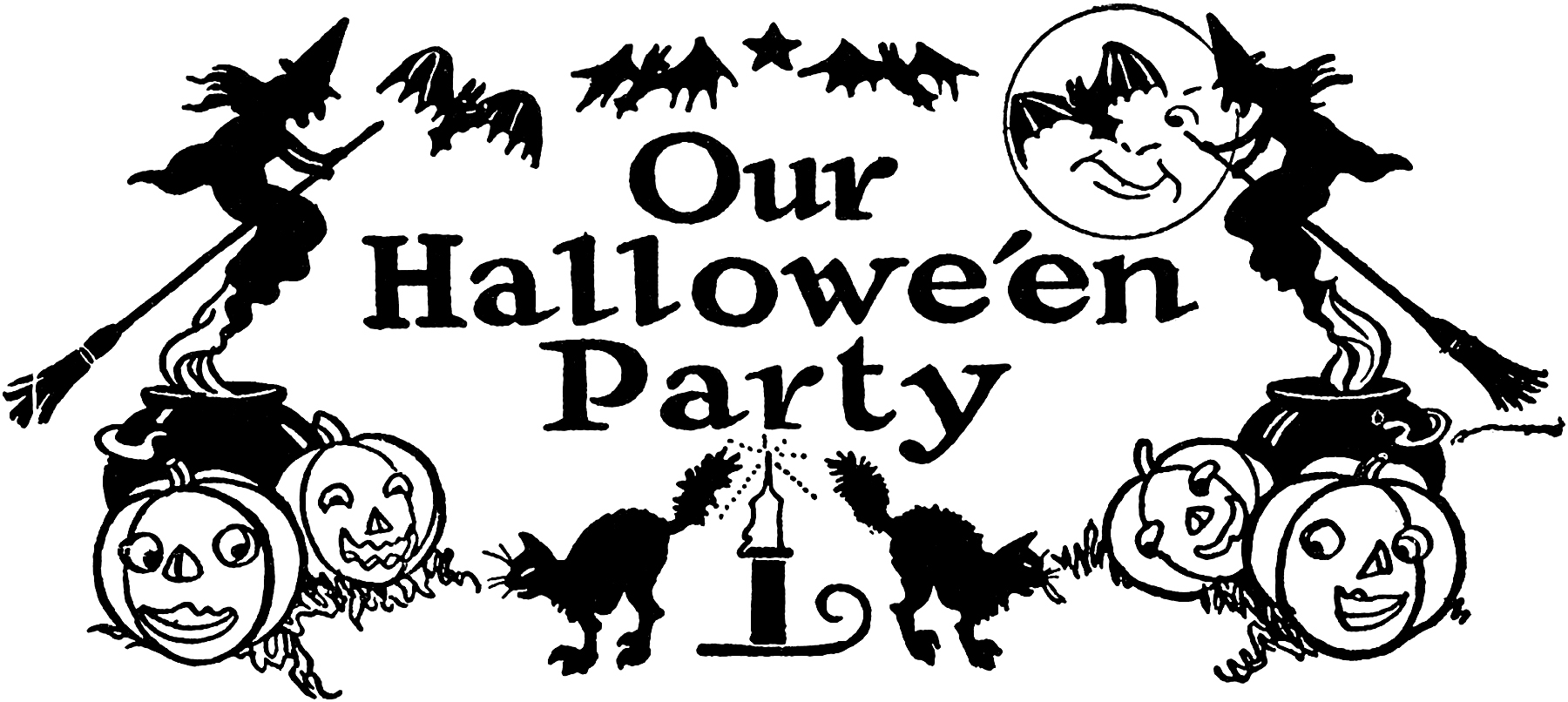 nostalgic black and white halloween party clip art! - the graphics fairy