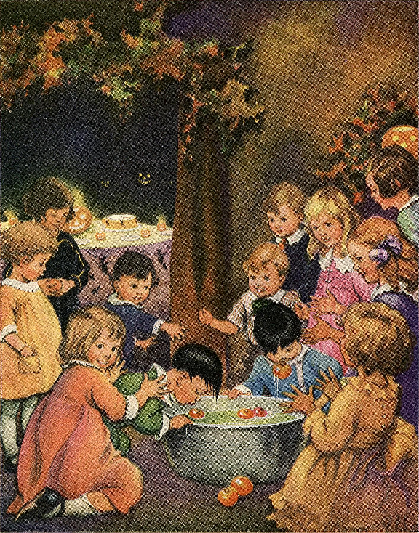 Image of Children Bobbing for Apples on Halloween
