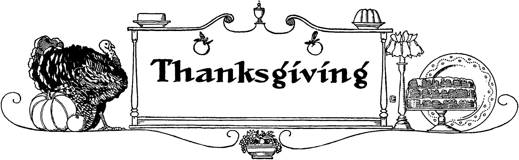 Vintage Thanksgiving Banner Clip Art