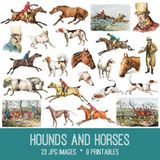 Hounds and Horses Images kit! Graphics Fairy Premium